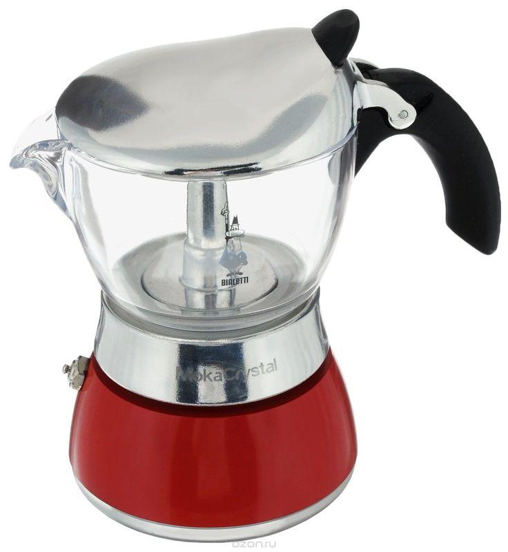 Кофеварка гейзерная Bialetti Moka Crystal, цвет: красный, прозрачный, на 3 чашки