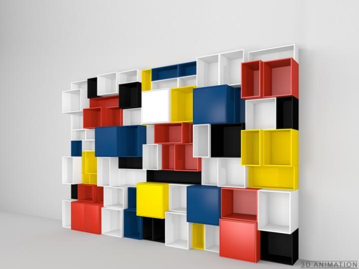 Design shelf - Multi-coloured wall shelving Cubit