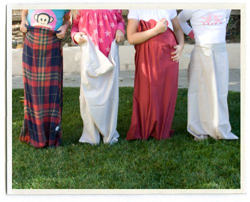 "We used some old pillowcases for sack races in the backyard. We did several heats since the kids were much faster than I thought! We also played ""musical pillows"", which is just like musical chairs except you jump on a pillow when the music stops."