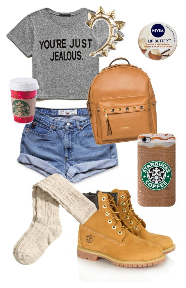 #starbucks #chill #style #trendy #cool #polyvore #designer #timberlands  Chill day In LA by shylastylez on Polyvore featuring polyvore, fashion, style, Forever 21, GUESS, H&M, Timberland, Picard, Rachel Entwistle and Nivea