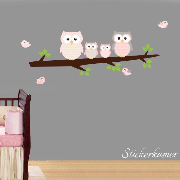 Exclusive muursticker uiltjes op tak  Leuk idee voor de kinderkamer  Afmeting  120 cm breed X 50