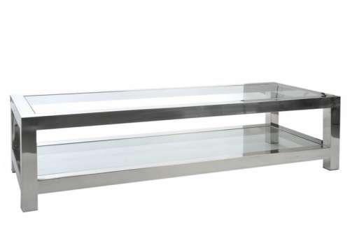 Table basse verre et acier chromé moderne chic