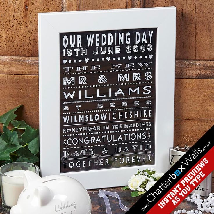 Personalised Wedding Day Word Art Print