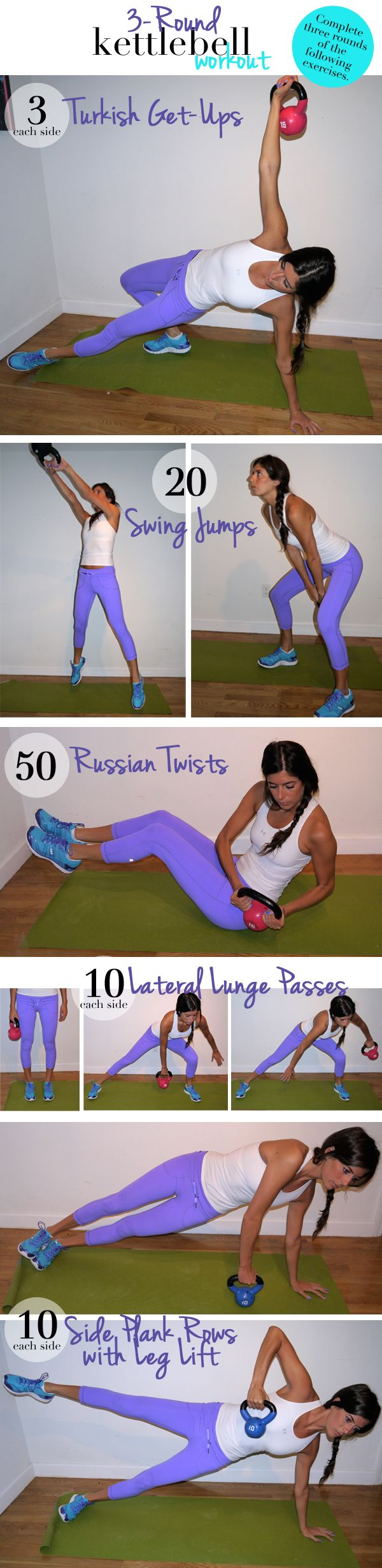 3-Round Kettlebell Workout  You'll go through the following sequence of exercises three times. Depending on your fitness level, it'll take you about 20 minutes.