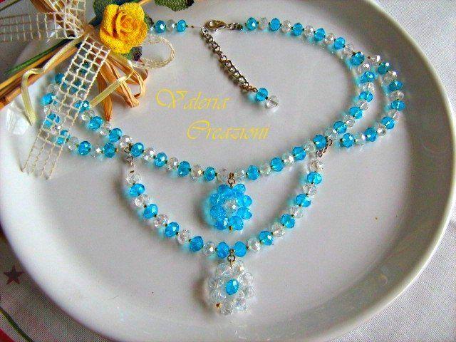 Collana collier di cristallo nei colori crystal e azzurro tiffany, by Lady Bijoux Handmade, 18,00 € su misshobby.com