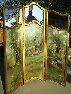 Antique-French-Carved-Wood-Oil-on-canvas-mirrors-3-panels-dressing-Screen