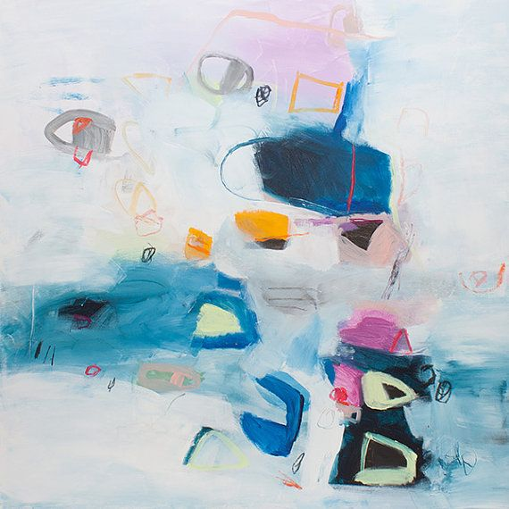 White ABSTRACT painting geometric art, canvas art 32x32, blue, pink, yellow, whimsical modern art by A.F. Duealberi #abstractart #acrylicpainting #minimalistpainting #largeabstract #duealberi #interiorstyling #homeart #paintings #wallart #modernart #interiors #interiordesign