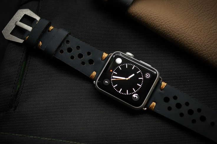 Handmade Vintage Leather Rally Racing incl. Lugs Adapter for Apple Watch (or Apple Watch Sport) 42mm or 38mm by BlackForestAtelier on Etsy https://www.etsy.com/listing/235586788/handmade-vintage-leather-rally-racing