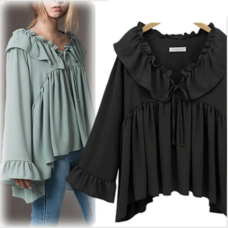Plus M-5Xl Women Chiffon Loose Bat Shirts V-Neck Long Sleeve Falbala Tops Blouse