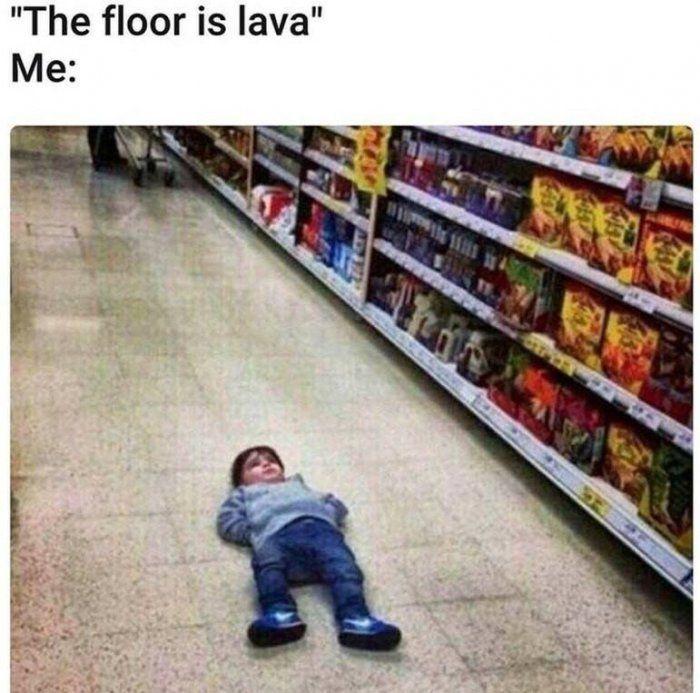 The floor is lava meme - https://jokideo.com/the-floor-is-lava-meme/