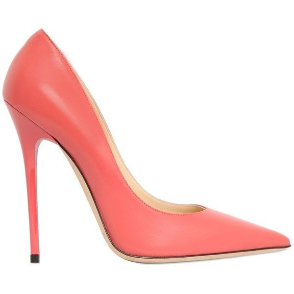 Jimmy Choo Women 120mm Anouk Leather Pumps (39.590 RUB) ❤ liked on Polyvore featuring shoes, pumps, heels, jimmy choo, coral, pointed-toe pumps, leather pointed toe pumps, genuine leather shoes and leather pumps