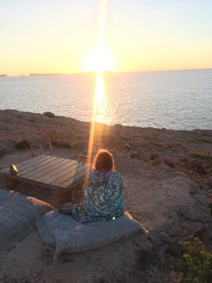 The only way to watch an Ibiza Sunset... in a sparkly cape, of course