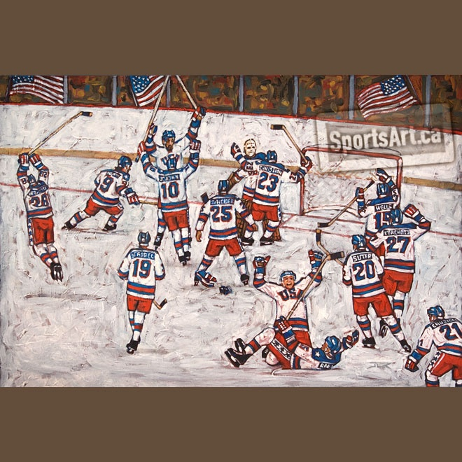 """""""Miracle on Ice"""" - This large canvas captures one of the greatest upsets in sports history. At the peak of the Cold War, the American hockey team defeated the Soviets at the 1980 Lake Placid Olympics. Days later, they completed their 'miracle' with a Gold medal victory."""