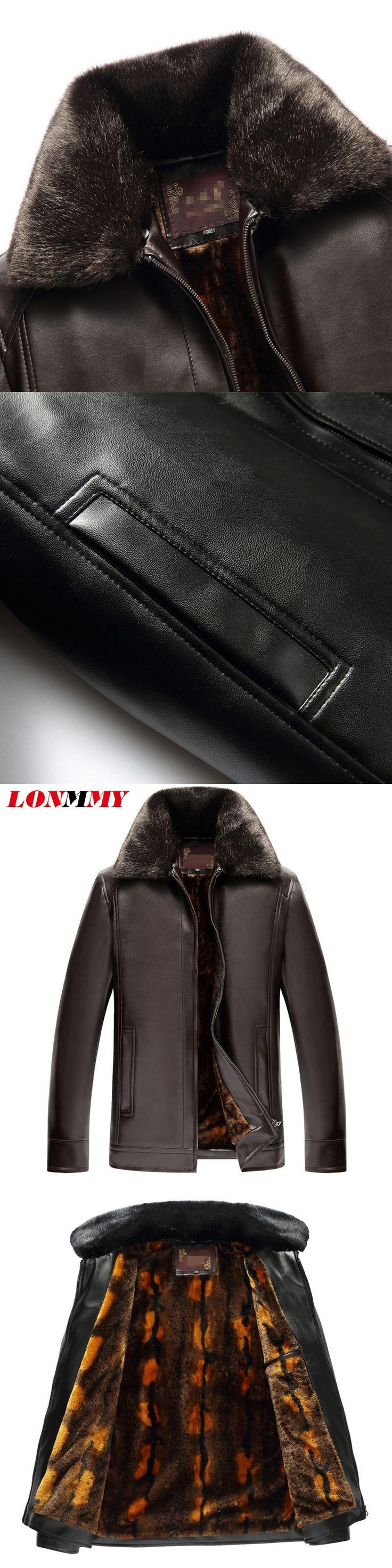LONMMY 62=4XL Men faux fur jacket Outerwear coats windbreaker velvet thick Suede pu male leather jackets Black Brown 2017 Winter