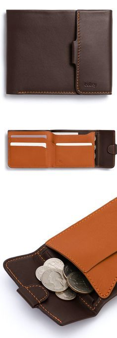 Leather wallet with coin pocket. A slim and thought through coin wallet from Bellroy.