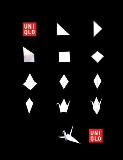Uniqlo Origami Poster I like the minimalistic approach of this poster and I like how they incorporated the Japanese culture into their ad. Muji uses the Japanese zen culture into their designs and I would like to include this into my campaign.