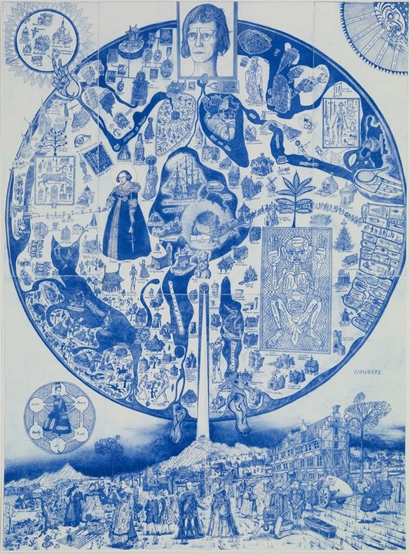 Grayson Perry | Map of Nowhere (blue), 2008 Colour etching from five plates, 153 x 113 cm 60 1/4 x 44 1/2 in
