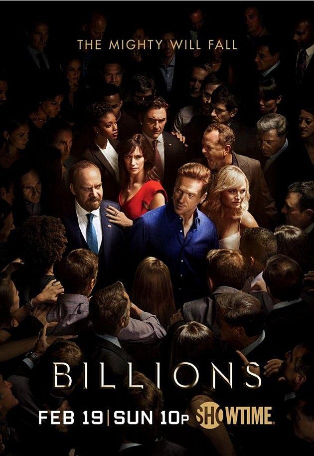 """Billions, uma série criada por Andrew Ross Sorkin, Brian Koppelman com Paul Giamatti, Damian Lewis: No mundo das altas finanças de Nova York, o Procurador de Justiça Chuck Rhodes (Paul Giamatti) bate de frente com o brilhante e ambicioso Bobby """"Axe"""" Axelrod (Damian Lewis)."""