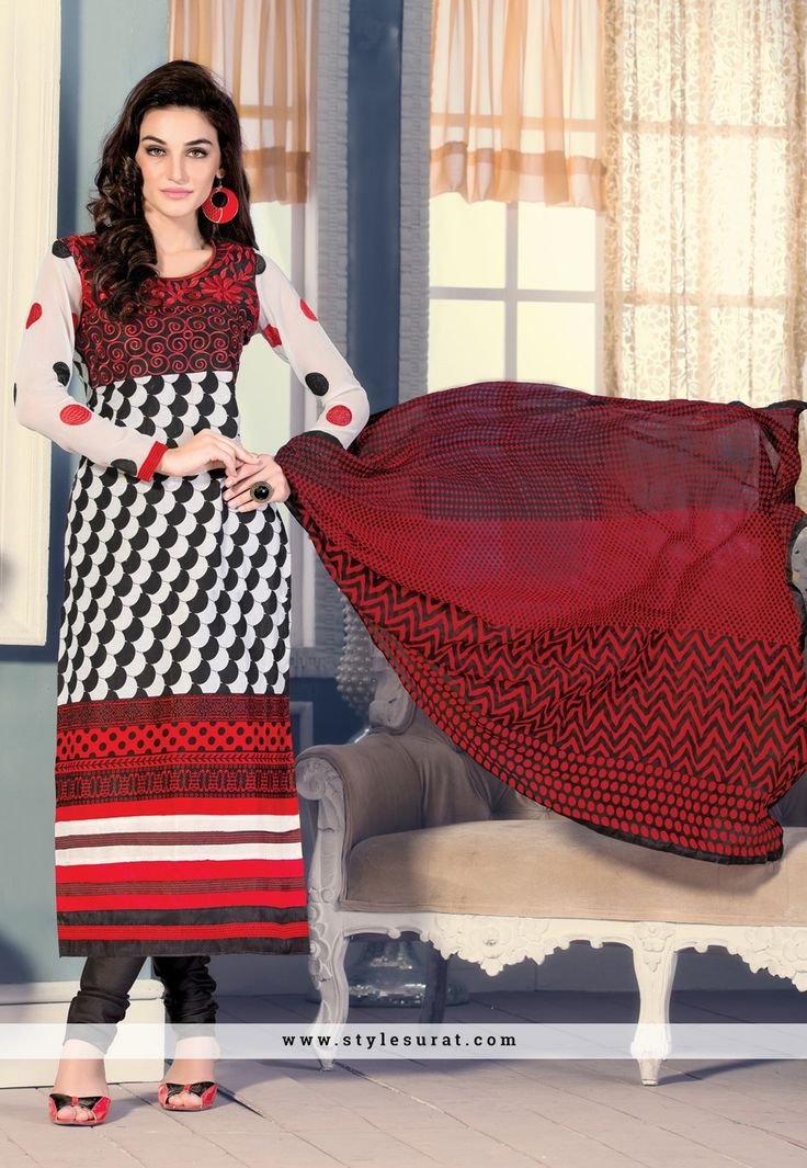 Off White, Red And Black Color Printed Cotton PArty Wear Salwar Kameez