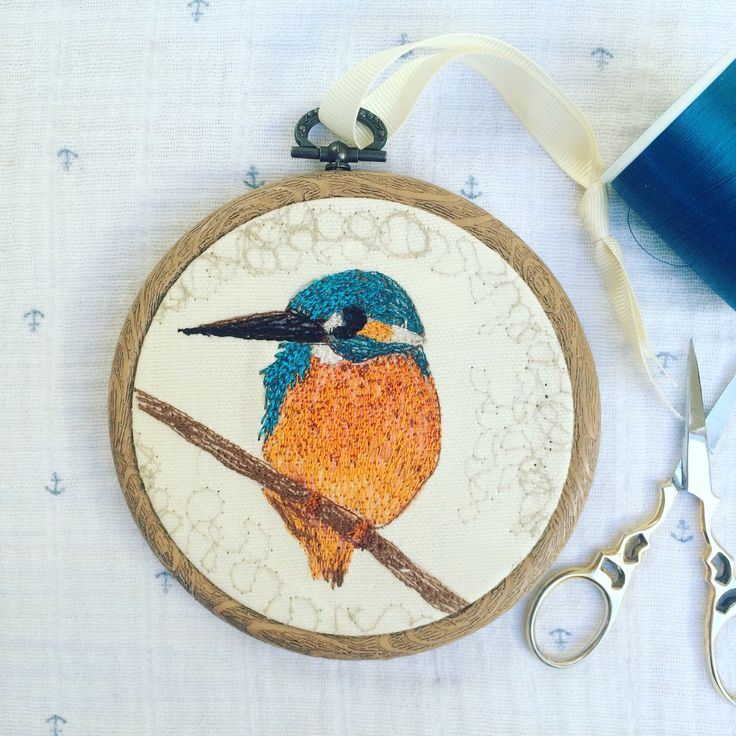 Kingfisher Embroidery Hoop Art 'The King Fisher' 4.5' hoop - new home gift - wedding gifts - gifts for her - gifts for him - home decor by JulietTurnbullShop on Etsy https://www.etsy.com/uk/listing/287232649/kingfisher-embroidery-hoop-art-the-king