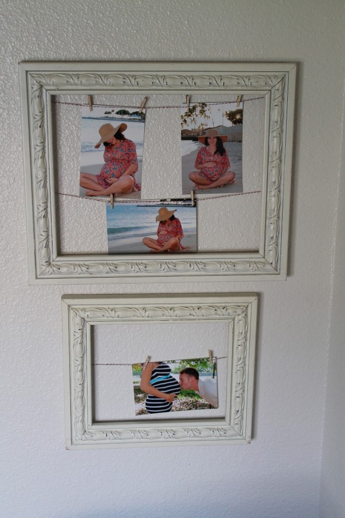 Use empty frames from garage sales and painted bright colors to hang multiple pictures