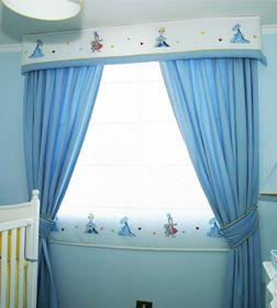 Store en gasa y cenefa bordado, cortina larga con abrazaderas