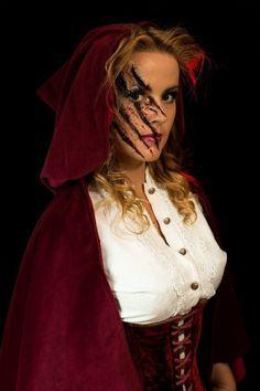 halloween schminke ideen disney prinzessinnen rotkäppchen gesicht wunde