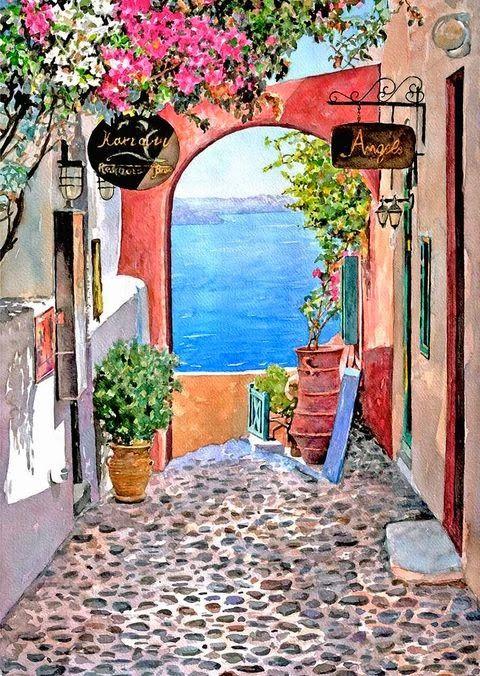 Watercolor Landscapes by Pantelis D. Zografos - Portal at Oia