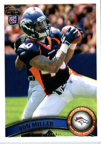 2011 Topps Football Card # 427 Von Miller RC / (catching the ball) - Denver Broncos (RC - Rookie Card) NFL Trading Card in a Protective Case! by Topps. $1.50. 2011 Topps Football Card # 427 Von Miller RC / (catching the ball) - Denver Broncos (RC - Rookie Card) NFL Trading Card in a Protective Case!