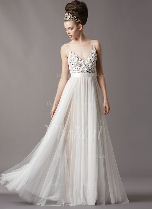 Trendy Wedding Dresses A Line Princess Scoop Neck Sweep Train Tulle Wedding