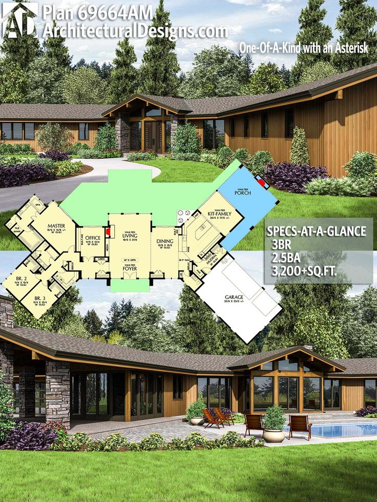 Architectural Designs House Plan 69664AM 3 BR | 2.5 BA | 3,420+ sq. ft. Ready when you are. Where do YOU want to build? #69664AM #adhouseplans #architecturaldesigns #houseplan #architecture #newhome #newconstruction #newhouse #homedesign #dreamhome #dreamhouse #homeplan #architecture #architect #housegoals #house