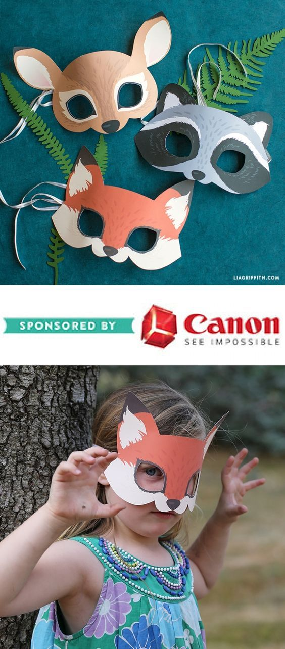 Printable Woodland Animal Masks - www.liagriffith.com #spons #diyinspiration #diyproject #diyprojects #diyidea #diyideas #papercraft #papercrafting #printables #canonusa #madewithlia