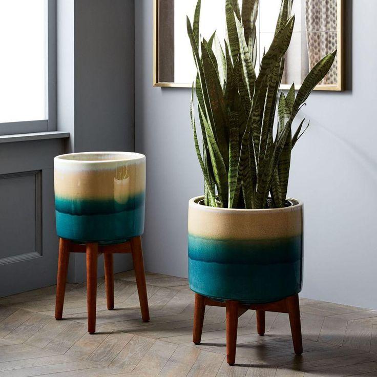 Mid-Century Turned Wood Leg Planters - Reactive Glaze