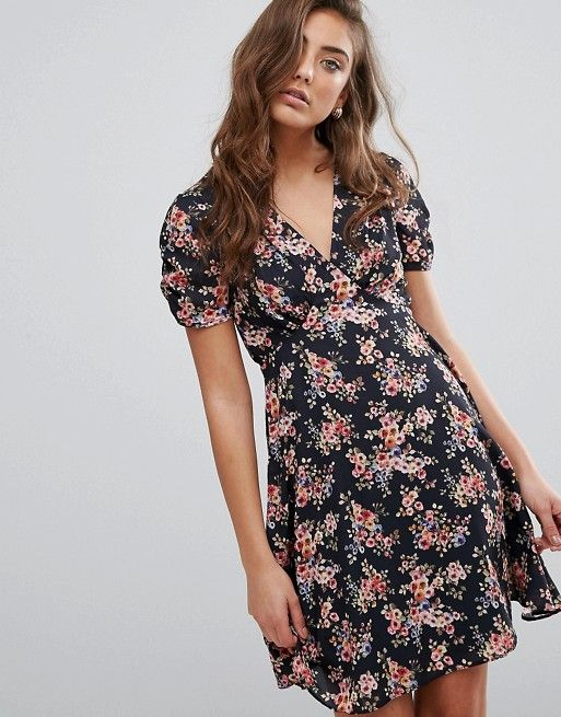 Miss Selfridge | Miss Selfridge Floral V Neck Tea Dress at Asos