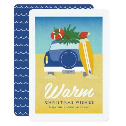 Retro Surf and Sand Beach Christmas Card - christmas cards merry xmas family party holidays cyo diy greeting card