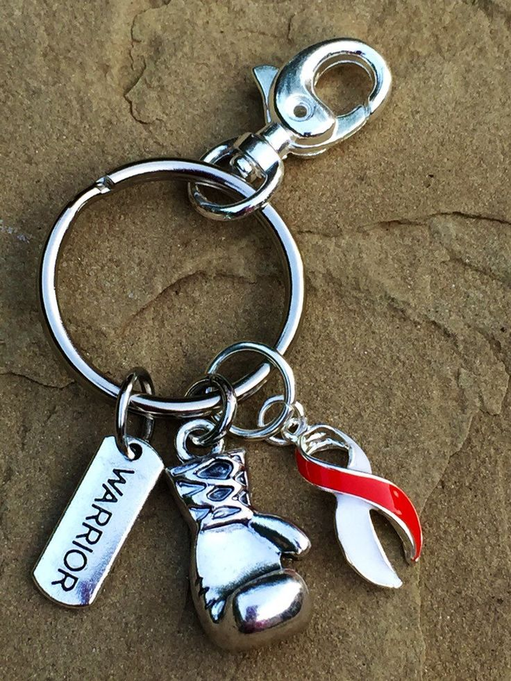 Red and White Ribbon Keychain / Boxing Glove / Oral Cancer / Head and Neck Cancer / Aplastic Anemia / Deep Vein Thrombosis by RockYourCauseJewelry on Etsy