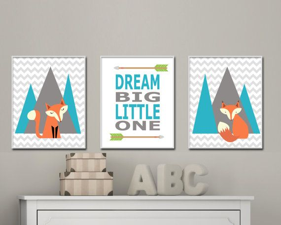 This set of three woodland nursery art set features two different foxes which are sitting in front of gray and turquoise mountains. The middle print features the quote - Dream big little one, with arrows at the top and bottom of the quote. You can customize the colors if you like and you can select from a range of different sizes. These art prints are printed on high quality heavyweight paper and are intended to be framed. This listing is for 3 art prints only - frame not included.  These…