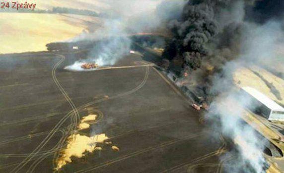 Velký požár na Znojemsku. V akci bylo 100 hasičů i vrtulník se speciálním vakem