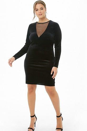 1fdca3a2553 Plus Size Mesh Insert Velvet Mini Dress