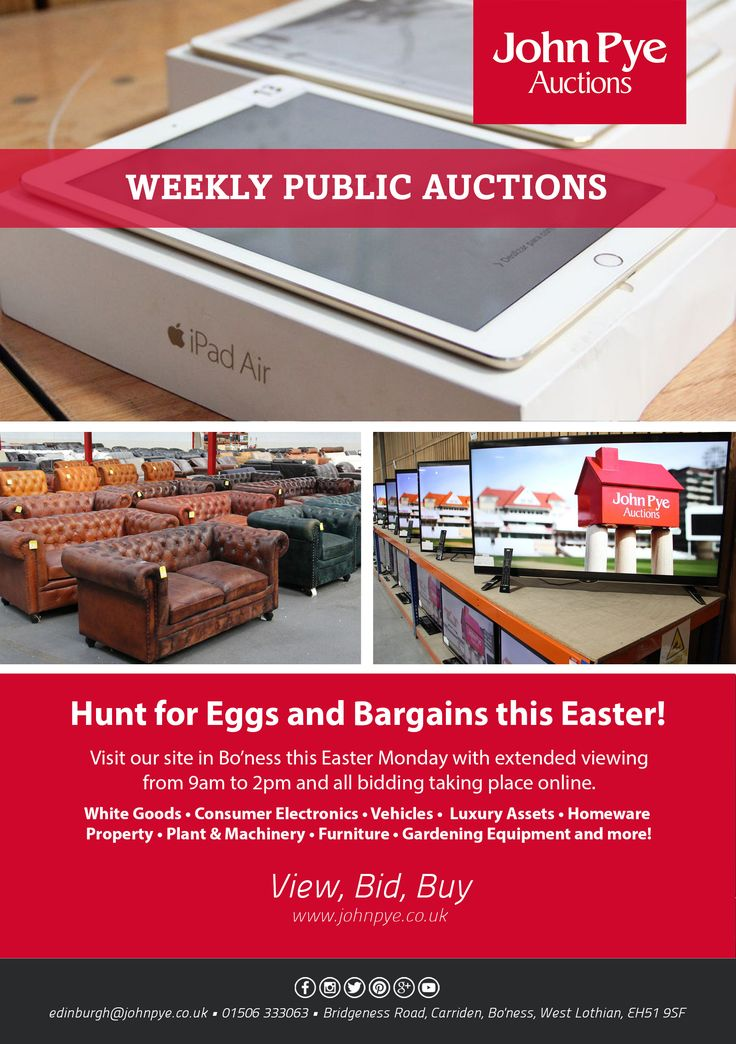 Hunt for Eggs and Bargains this Easter! Visit our site in Bo'ness this Easter Monday with extended viewing from 9am to 2pm and all bidding taking place online. White goods - Consumer Electronics - Vechicles - Luxury Assets - Homeware Property - Plant & Machinery - Furniture - Gardening Equipment and more!  With the help of F D G Flyer Distribution Glasgow - https://plus.google.com/+FlyerdistributionglasgowCoUk/posts/7LnU4xopXgT