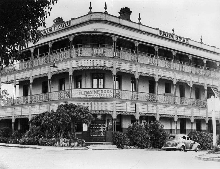 Regatta Hotel Toowong, Brisbane, ca. 1940 - In 1885 William Winterford commissioned architect Richard Gailey to design the Regatta Hotel located on the corner of River Drive and Sylvan Road Toowong. A feature of this three storey building is the wide verandahs, designed to catch the river breezes and take in the extensive views of the Brisbane River. The Regatta Hotel took its name from the regattas held on the Toowong Reach of the river by the Brisbane Rowing Club , which opened in 1875.