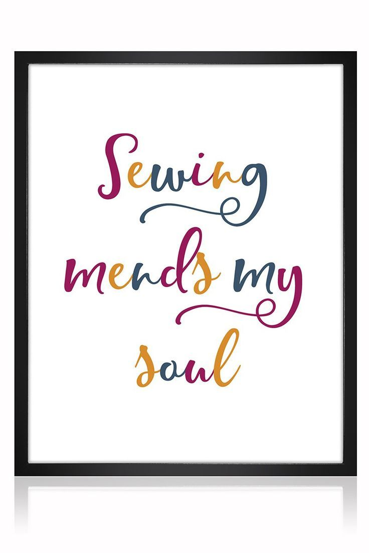 Available in multiple colours, this Sewing Mends My Soul is great for your sewing room! Printable Sewing Room Art - The Creative Curator.  sewing quotes | sewing quotes funny | sewing quotes sayings | sewing quotes printables | sewing quotes inspiration | Sewing Quotes & Humor