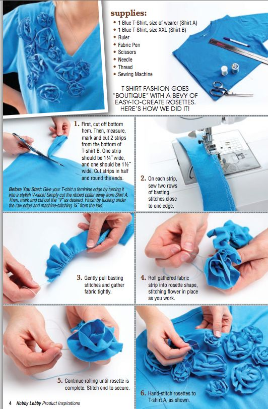 For this fun DIY t-shirt tutorial, add easy-to-create rosettes for a boutique style.