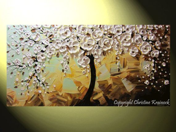 "ORIGINAL Abstract Tree Painting White Blossoming Cherry Tree, Tree of Life, ""Joyful Life"", Modern, Contemporary, Fine Art, Home Decor Wall Art, Palette Knife Paintings by Christine Krainock"