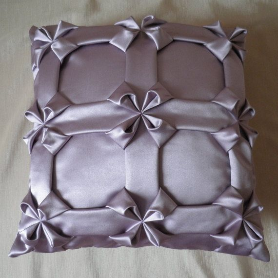 Satin Textured Floral Lilac Pillow Cover,Couch Cushion,Textured Pillow,Floral Cushion,Smocked Pillow,Living Room Pillow 16x16 inch