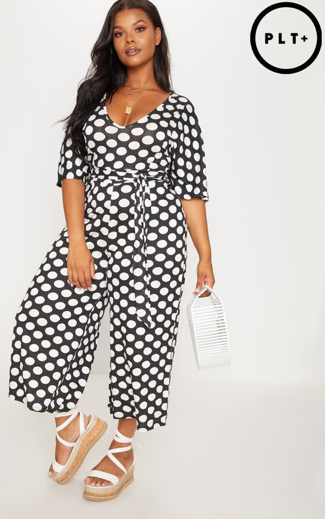 555fe8a189be9 Plus Black Polkadot Culotte Jumpsuit