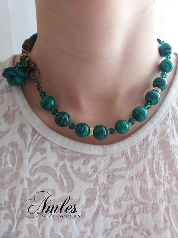 Green necklace Leather bracelet for woman green leather