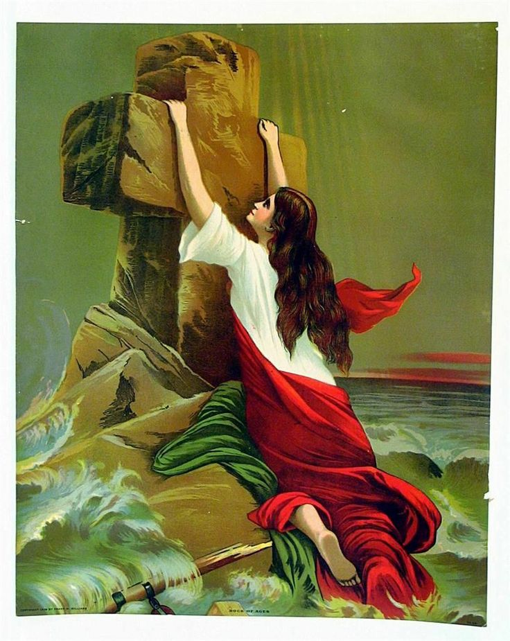 Original 1909 Victorian Religious Print Rock of Ages ...
