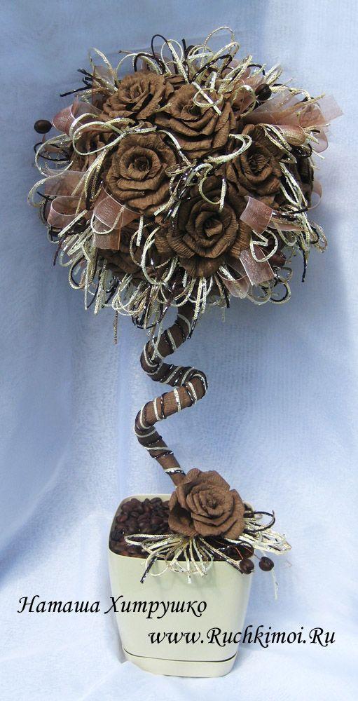 Топиарий своими руками с розами из гофрированной бумаги. Подробный МК