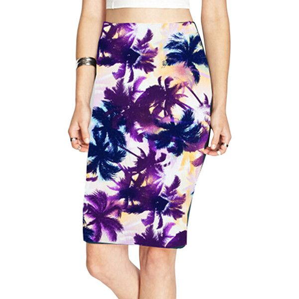 Purple Womens Coconut Palm Printed Fashion Pencil Skirt (23.560 COP) ❤ liked on Polyvore featuring skirts, purple, palm tree skirt, knee length pencil skirt, palm skirt, purple skirt and pencil skirt